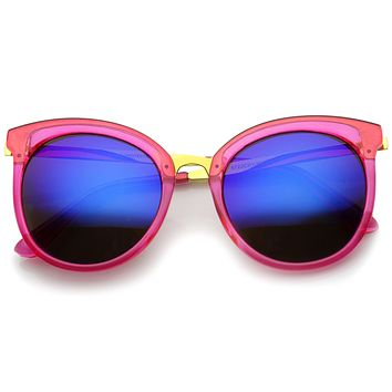 Oversize Women's Translucent Color Mirror Lens Sunglasses A247