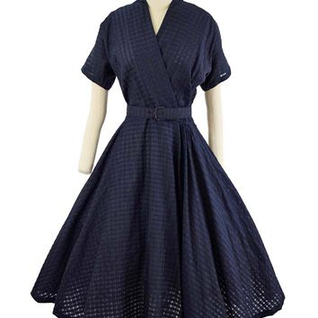 50s Navy Semi Sheer Tonal Check Tea Length Dress-M