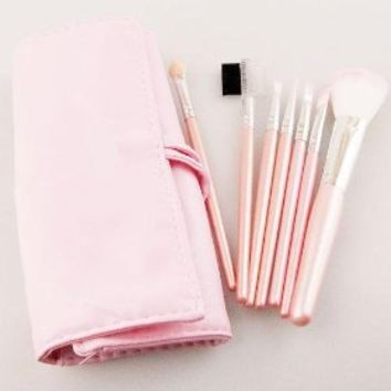 New 7 pcs Makeup Brushes Cosmetic Brushe Set Pink case