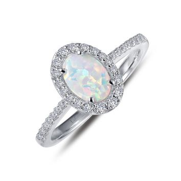 Lafonn Sterling Silver Oval Halo Simulated Opal and Diamond Ring