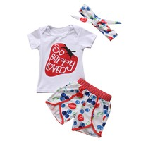 Newborn Toddler Kids Baby Girls Clothes Sets Floral Tops Short Sleeve Cotton Shorts Headband Outfits Clothing Set Baby Girl