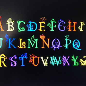 Alphabet Decals vinyl interior Wall decal custom sticker