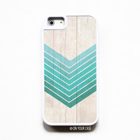 iPhone 5 Case Silicone Lined Tough Case - Wood Geometric Ombre in Teal