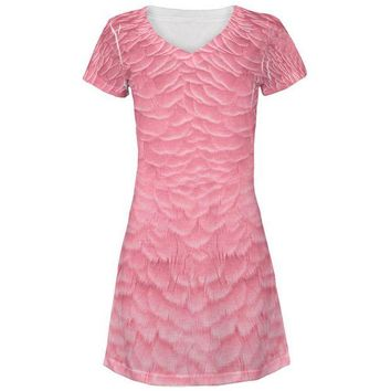 LMFCY8 Halloween Pink Flamingo Costume All Over Juniors Beach Cover-Up Dress