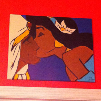 Disney Aladdin and Jasmine Kissing inspired 16x20 Canvas Painting