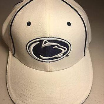 PENN STATE NITTANY LIONS NCAA WHITE ZEPHYR FITTED HAT SHIPPING