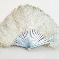 Feather Fan Vintage Fan Victorian Fan White Ostrich Feathers  Antique Fan Blue White Fan Burlesque Dancer Fan Pastel Goth White Wedding Fan