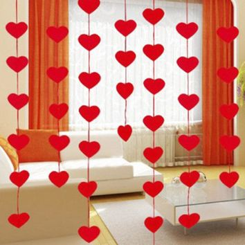 16Pcs/Set Love Heart Curtain DIY Non-woven Garland Romantic Wedding Decor Marriage Room Layout Ornament Wedding Supplies