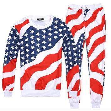 Men/Women 3D American Flag Print Sport Suits Hip Hop Emoji O-Neck Sweatshirts+Jogger Pants Tracksuit Running Jogging Hoodies Set-1
