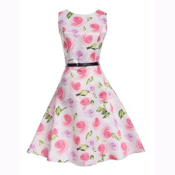 2017 New Brand Spring Summer Dress Women Clothing Vintage Floral Printed Dress Plus Size Maxi Dresses Big Swing Party Vestidos