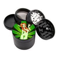 "Leaf Girl Design - 2.25"" Premium Black Herb Grinder - Custom Designed"