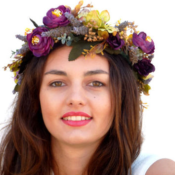Flower Crown, Purple headpiece, Lavender headband
