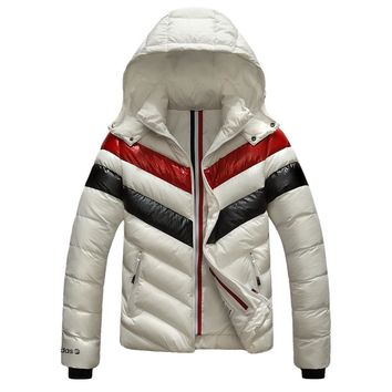 Adidas Winter Fashionable Men Women Warm Color Matching Hooded Zipper Cardigan Cotton Jacket Coat Windbreaker White