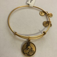 Disney Parks Minnie Mouse Charm Bangle Bracelet Alex & Ani Gold New With Tags