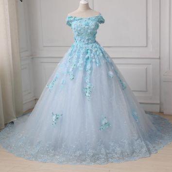 Princess Luxury Flowers Sequined White Ball Gown Wedding Dress