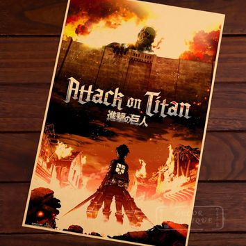 Cool Attack on Titan  Manga Anime Cartoon vintage Retro Decorative Frame Poster DIY Wall Canvas Stickers Home Posters Home Decor AT_90_11