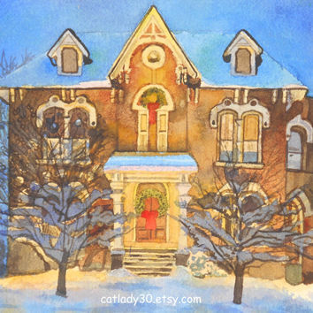 Water Color : Original Gingerbread House watercolor painting. Gingerbread painting. Gingerbread wall art. Christmas watercolor.