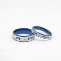 2PCS Wedding Couple Rings,Blue rings, Lovers rings, his and hers promise ring sets , wedding rings, valentine's gift, Free Engraving