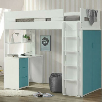 Acme 38045 Nerice white / teal finish wood loft bunk bed set desk drawers armoire
