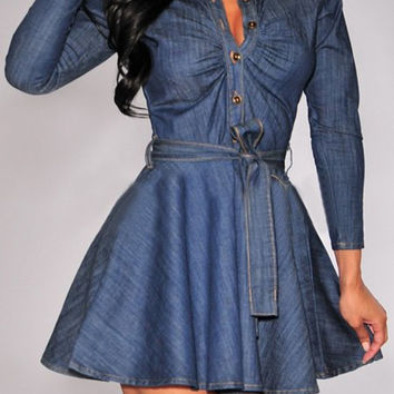 Deep Blue Stand Collar Button Design Denim Dress with Belt