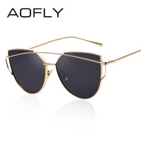 AOFLY Fashion Sunglasses Women Cat Eye Sunglasses Famous Lady Brand Designer Twin-Beams Sunglasses Coating Mirror Glasses UV400