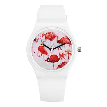 DF-0308 Flamingo Ladies Wrist Watch Silicone Strap Quartz Movement Watch