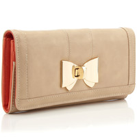 Lucy Metal Bow Long Wallet | Camel | Accessorize