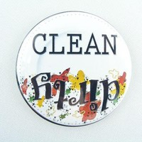 Dirty Clean DISHWASHER Magnet Button by GypsyGoods on Zibbet