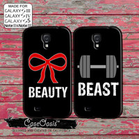Beauty Beast Matching Pair Couple Gym Bow Weights Cute Black Custom Galaxy S5 and S4 and S3 Case and Galaxy Note 2 and Note 3 Case