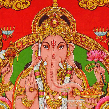 Indian elephant head hindu religious god deity ganesh ganesha sequin coton fabric painting wall hanging tapestry ethnic home decor art India