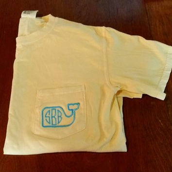 Short Sleeve Monogrammed Comfort Colors Whale Shirt