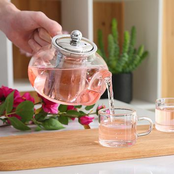 Glass Loose Leaf Tea Teapot With Stainless Steel Infuser Strainer