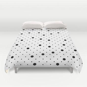 Pin Points Polka Dot Black and White Duvet Cover by Project M | Society6