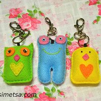 Felt Animal Keychain -  Handmade Big Animal Key Ring - Owl Key Ring - Bird Key Ring - Frog Key Ring