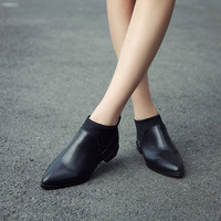 Pointed Toe Ankle Boots Low Chunky Square Heels 5002
