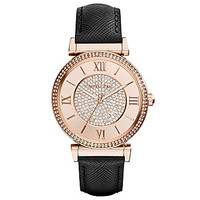Michael Kors Catlin Black Saffiano Leather Strap Rose Gold Dial Watch