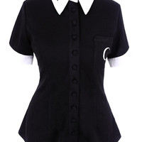 Gypsy Witch Moon Child White Collar Black Dress Blouse