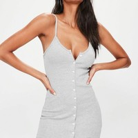Missguided - Grey Ribbed Popper Mini Dress