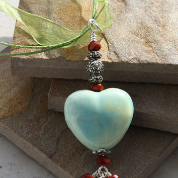Blue Green Ceramic Love Heart Pendant with Red Crystals and Light Green Organza Voila Ribbon Cord for Mom or Sweetheart