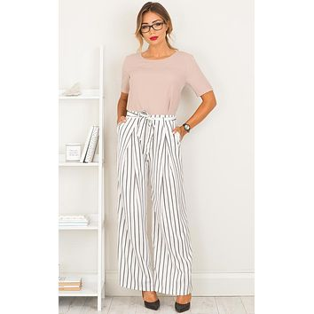 Women Casual Loose Stripe Wide Leg Pants Trousers Leisure Pants