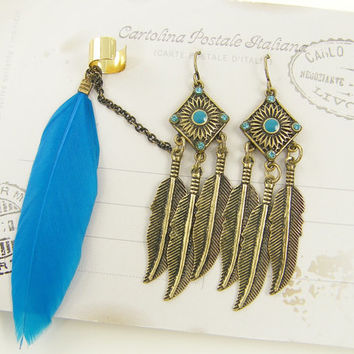 Turquoise Feather Ear Cuff Antique Gold Boho Gypsy Feather Dangle Hippie Earring