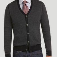 EGARA CHARCOAL AND BLACK BIRDSEYE SLIM FIT CARDIGAN SWEATER