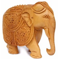 Unique Hand Carved Elephant Decor Statue In Cadamba Wood Benzara Brand