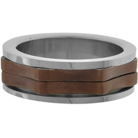 Inox Jewelry Men's Jagged Cappuccino Plated 316L Stainless Steel Ring