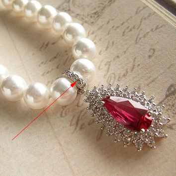 Natural Red Corundum Deep Sea Seashell Pearl Beaded Necklace Women's Earrings Bridal Jewelry-Earring Style Dangling