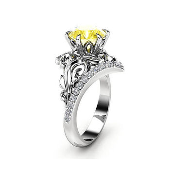 Yellow Moissanite Engagement Ring 14K White Gold 1.55 CT. Moissanite Ring Leaf Engagement Ring Charles Colvard