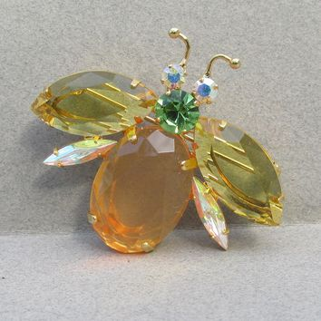 Joan Rivers 1990's Vintage 20th Anniversary Bee Fly Bug Rhinestone Pin