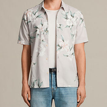ALLSAINTS UK: Mens Layback Short Sleeve Shirt (Light Grey)