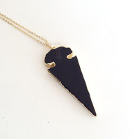 Obsidian Black Arrow Necklace Gold Bullet Arrow Onyx Black Geode Modern Rustic Gemstone Statement Gift Long Layered Layering Necklace C1