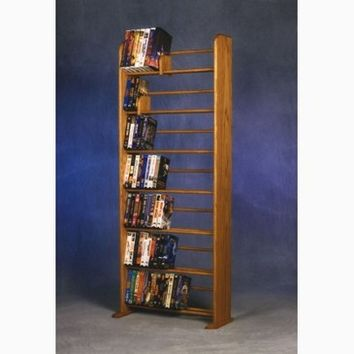 Wood Shed Solid Oak 7 Row Dowel DVD/VHS Rack